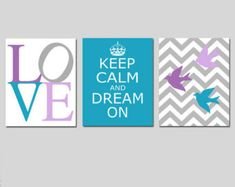 Baby Girl Kids Art Trio - Set of Three 8x10 Prints - Love, Keep Calm and Dream On, Chevron Birds - CHOOSE YOUR COLORS - Shown in Brooklyn