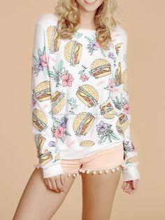T-Shirt hamburgers & flowers