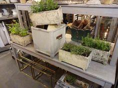 Rustik gammel fransk rektangulær jardiniere/havekrukke i cement med lækker patina og mos.