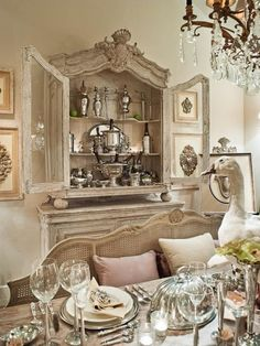 Old world display cabinet for memorabilia