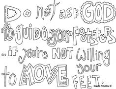 Christian doodle word art coloring page.