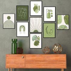 Diy Wall Art, Diy Wall Decor, Wall Art Sets, Room Decor, Green Wall Decor, Green Wall Art, Green Art, Sage Green Walls, Wall Decor Pictures