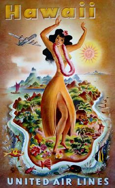 I know a retired UA flight attendant who flew San Francisco-Hawaii for years! An original vintage Hawaiian travel poster advertising the enchanted United Airlines destination. Linen-backed. Hawaiian Art, Vintage Hawaiian, Hawaiian Theme, United Airlines, Travel Ads, Travel Photos, Air Travel, Hula Dancers, Decoupage