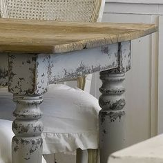 Dining room : shabby chic old gray table with natural top - I like it, but maybe not quite so distressed....