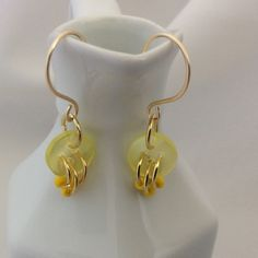 Cute as a Button Earrings in Yellow Cute button earrings - great for summer. So light and easy to wear. Becky Barnes Designs Jewelry Earrings