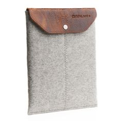 iPad sleeve w/ leather flap grey | Graf & Lantz