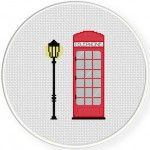 Phone Booth Cross Stitch Illustration