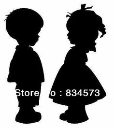 Free shipping Boy and Girl Holding Hands Silhouette Home Decoration Wall Art Vinyl Decal Sticker wall stickers Decor 60cmx50cm