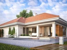 Find home projects from professionals for ideas & inspiration. AMBROZJA 7 by Biuro Projektów MTM Styl - domywstylu. Family House Plans, Bedroom House Plans, Dream House Plans, Single Floor House Design, Small House Design, Residential Building Design, One Storey House, House Construction Plan, Modern Bungalow House