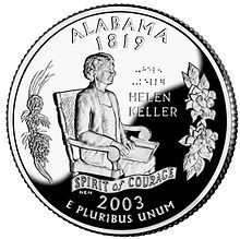 """Alabama became the state in 1819 Alabama's state quarter features Helen Keller reading braille; the words """"Helen Keller"""" in standard print and braille; and a """"Spirit of Courage"""" banner. Helen Keller, Reading Braille, The Miracle Worker, State Quarters, Valuable Coins, Coin Worth, Sweet Home Alabama, U.s. States, United States"""