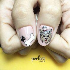 Dog Nail Art, Animal Nail Art, Dog Nails, Kitty Nails, Fall Nail Art Designs, Red Nail Designs, Simple Nail Designs, Nail Art Simple, Engagement Nails