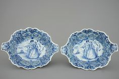 "A pair of Dutch Delft blue and white openworked (ajour) baskets, 18th C. Dim.: 28 x 8 x (tbc) cm One marked in blue IVDH for Jan van der Hagen, ""Het Jonge Moriaanshooft"", Delft, ca. 1750."