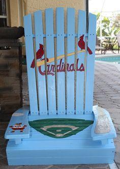 St. Louis Cardinals baseball handpainted wooden adirondack chair by PaintedPineappleFL
