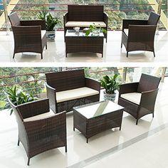 yakoe 50057 rattan garden furniture sofa set plus reclining chairs grey amazoncouk garden outdoors rattan garden furniture sets pinterest - Garden Funiture Set