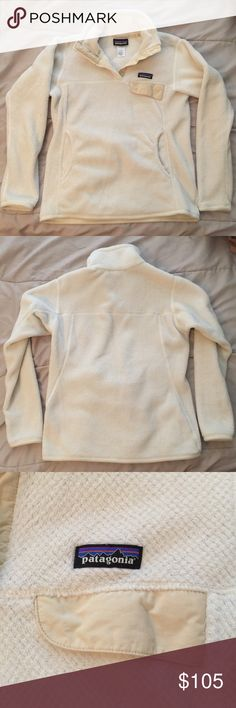 Patagonia Re-Tool Snap-T Pullover in Cream EUC repost. I never personally wore this. Only flaw I see is a slight dirt mark (pictured). I have this in other colors and am so afraid I'll get this dirty that I never wear it! I believe this is the Raw Linen/White X-Dye color combo. Size Medium, Women's. No trades please! Patagonia Sweaters