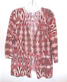 Chico's Sweater Wrap Pink Peach Cream Linen Cotton Chicos Size 2  M Ikat 3/4 slv #Chicos #WrapSwing