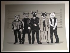"""When the usual suspects are cats, they form a """"feline-up"""". Limited edition art print - $8.50 USD."""