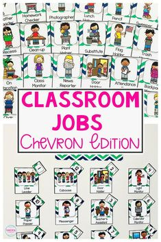 Having a well managed classroom, even when you are out sick, can be a challenge! An elementary classroom jobs chart is a great way to keep your classroom organized, while teaching your students to be responsible. This chevron themed jobs chart with pictur Preschool Classroom Jobs, Classroom Jobs Board, Classroom Job Chart, 5th Grade Classroom, Primary Classroom, Classroom Organization, Bulletin Board, Classroom Management, Classroom Decor