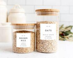 Kitchen Labels, Kitchen Organization Pantry, Pantry Labels, Kitchen Pantry, Pantry Ideas, Closet Organization, Kitchen Decor, Spice Jar Labels, Canning Labels