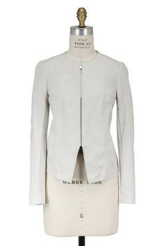 White Leather Tailored Jacket