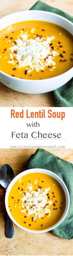 A red lentil soup finished with crumbled feta cheese. Perfect whenever you're craving something warming and nourishing