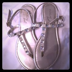 Strapped Sandals with Crystals Silver, adjustable, worn once or twice but have been in shoe drawer. Size 7.5 to 8. Madeline Stuart Shoes Sandals