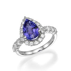 Pear Shape Tanzanite Gemstone and Diamond Halo Fashion Cocktail Ring   18K White Gold