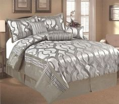 7 Pieces Jacquard Embroidery Modern Comforter Set Bed-In-A-Bag Queen Grey