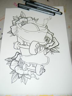 Skateboard Tattoo Drawings | Art Of Muecke Tattoos Custom Roller Skates And Rose Tattoo
