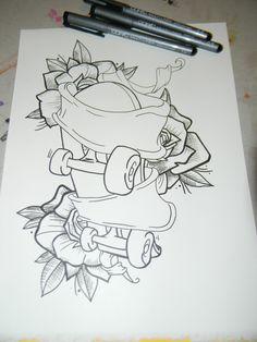 Skateboard Tattoo Drawings | Art Of Muecke Tattoos Custom Roller Skates And Rose Tattoo