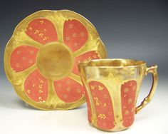 LIMOGES HAND PAINTED FLOWER GOLD IN ART NOUVEAU DEMITASSE CUP & SAUCER