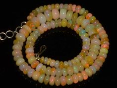 Natural Ethiopian Welo Opal Gemstone Rondelle Plain Beads 105 Cts Necklace