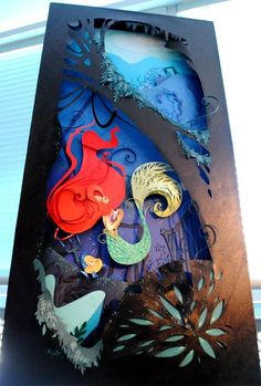 disney movies, paper cut outs, paper artwork, mermaid art, disney art, the little mermaid, cut paper, paper cutting art, art pieces