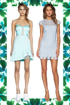 Baby Blue Ruffle and Lace Dress, THREE FLOOR, $256; Baby Blue Overlay Dress, SAYLOR (Available at Revolve), $220   - Cosmopolitan.com