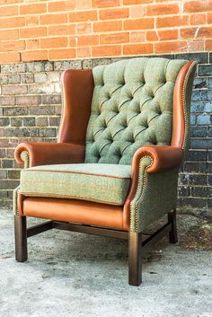 Georgian Wing Chair by DesignerWorkshopUK on Etsy - Haus Design Living Room Upholstery, Upholstery Trim, Upholstered Furniture, Upholstery Nails, Upholstery Cleaning, Funky Furniture, Furniture Design, Long Chair, Patchwork Chair