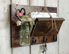 NEW...Unique Rustic Wood Mail and Key Holder by cottagehomedecor