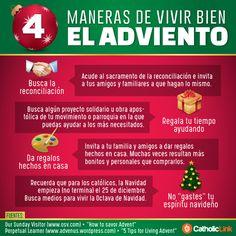 Infografía: 4 maneras de vivir bien el Adviento Fuentes: https://www.osv.com/TodaysIssues/BioethicsandScience/Article/TabId/693/ArtMID/13736/ArticleID/13727/How-to-savor-Advent.aspx https://advenus.wordpress.com/2014/11/27/5-tips-for-living-advent/