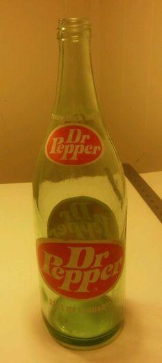 1975 USA ORIGINAL DR PEPPER 32oz (1 QUART) GREEN GLASS BOTTLE  MONEY BACK #DrPepper
