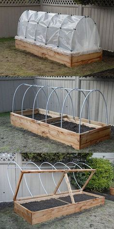 Elevate Your Garden Style With A DIY Raised Planter Raised Planter – The hinged lid allows for quick access, as well as easy venting. Hoop house plastic can be rolled up in the summer to keep rain off tomatoes, or removed entirely during the hot months. Diy Planters, Garden Planters, Outdoor Planters, Tall Planters, Outdoor Projects, Garden Projects, Wood Projects, Diy Greenhouse, Underground Greenhouse