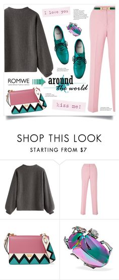 """""""ROMWE: темно-серый Ребристый Толстовка!"""" by miss-image ❤ liked on Polyvore featuring Prada, American Apparel, Balenciaga and Dorothy Perkins"""