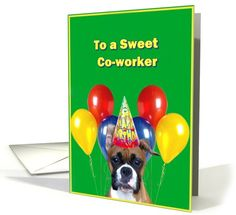 Happy Birthday Co-worker Boxer Dog with balloons card