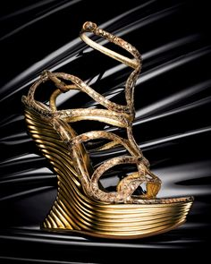 Alexander McQueen Gold metallic python Platform Wedge Sandal, 212 872 8947