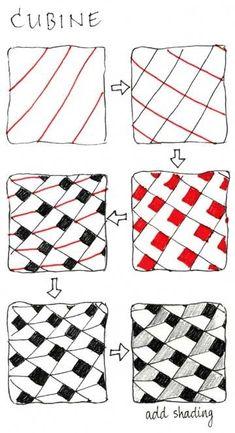 "#Zentangle Pattern ""Cubine"" #square"