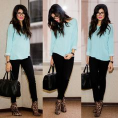 H Light Blue Sweater, H Black Skinnies, Forever 21 Mesh Speedy, Bcbg Love Affirmation, Firmoo Glasses, Forever 21 Leopard Booties.... cheap & chic*