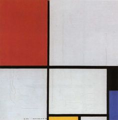 piet mondrian, composition with red, yellow, and blue