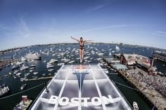 Artem Silchenko of Russia dives from the 27.5 meter (roughly 90 feet) platform on the ICA building at the Fan Pier in Boston on August 25, 2013. (Photo by Dean Treml/Red Bull via Getty Images)