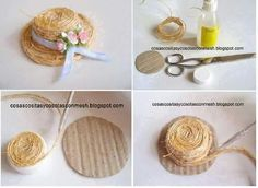 Straw hat how-to Recycled Crafts, Diy And Crafts, Crafts For Kids, Hat Crafts, Bijoux Wire Wrap, Mini Craft, Bottle Cap Crafts, Diy Hat, Miniature Crafts