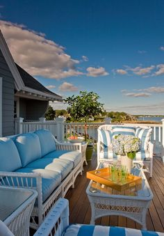 Marblehead porch by Anita Clark Design. need deep seating like this at the lake