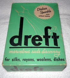 Vintage DREFT Detergent Soap Powder Box FULL Unopen Large Size 8 3/4 oz. 1950's #DreftProcterGamble