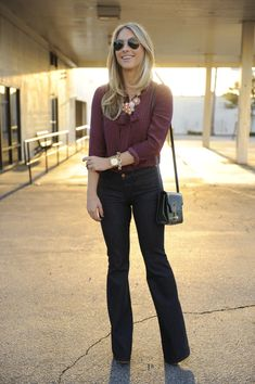 Ray-Ban Sunglasses, Club Monaco Blouse, MIH Jeans, Tod's Purse c/o, J.Crew Necklace and Bracelet, Nixon Watch,Elizabeth and James Wedges